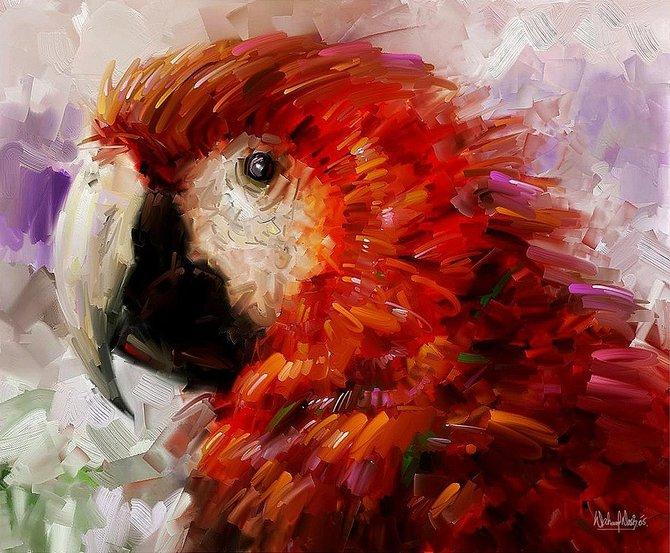 Объемный попугай из бумаги 174